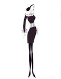 Femmina isolata di schizzo della siluetta dell'illustrazione Immagini Stock