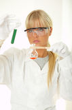 Femmina in laboratorio Fotografie Stock