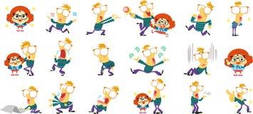 Femmina maschio del fumetto del carattere della mascotte royalty illustrazione gratis