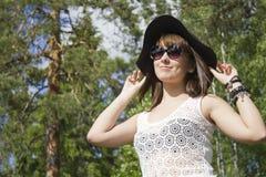 Femmina nel cappello Fotografia Stock