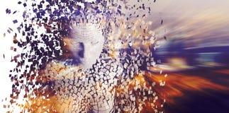 Femmina pixelated gray composito 3d illustrazione di stock