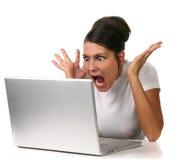 Femmina scossa a qualcosa Immagine Stock