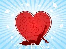Femmina sexy su cuore Immagine Stock