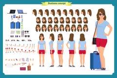 Femmina turistica, insieme della creazione del carattere del viaggiatore di vacanza Integrale, viste, emozioni, gesti royalty illustrazione gratis