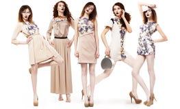 Collage delle donne d'avanguardia in vestiti stagionali leggeri. Fascino immagini stock
