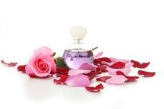 Femminilità, bottiglia di profumo e petali di rosa fotografia stock libera da diritti
