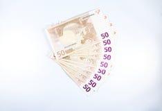 Femtio anmärkningar för euro för â'som ¬50 ut fläktas Arkivbilder