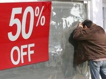 femtio av procentförsäljning Arkivbild