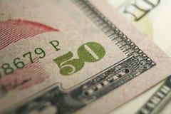 Femtio dollar Bill Close Up High Quality arkivfoto