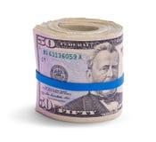 Femtio dollar Bill Roll av kassa arkivbilder