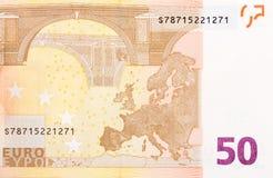 Femtio euro av den europeiska unionen fotograferade tätt upp Royaltyfria Foton