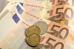 Femtio euro bakgrund Royaltyfria Bilder