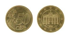 Femtio Eurocents mynt Arkivbilder