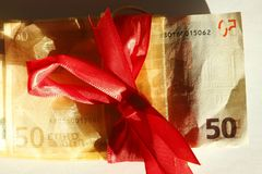 Femtio Euros Banknote Arkivfoto