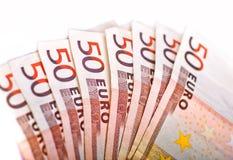 Femtio Euros stapel Royaltyfri Fotografi