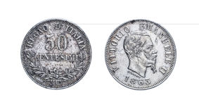 Femtio 50 Lire centsilvermynt Vittorio Emanuele 1863 II, kungarike av Italien Royaltyfria Bilder