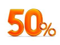 Femtio procent på vit bakgrund illustration 3d Royaltyfri Foto