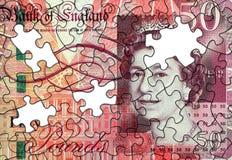Femtio pund anmärkningsfigursåg arkivbild