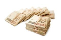 Femtio reais - brasilianska pengar Arkivbilder