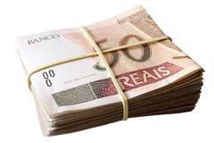 Femtio reais - brasilianska pengar Arkivbild