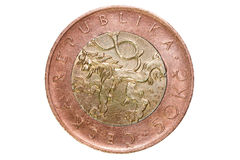 Femtio tjeckiska kronor Valutan av Tjeckien Makrofoto av ett mynt Sikt av Prague med Charles Bridge och Prague Castl Royaltyfri Fotografi