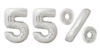 Femtiofem metalliska ballonger för procentkrom Royaltyfri Fotografi
