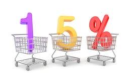 Femton procent symbol i shoppingvagn stock illustrationer