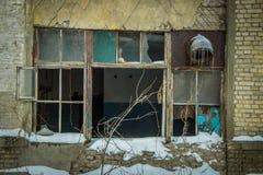 Fenêtre abandonnée d'usine Photos stock