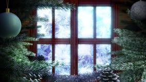 Fenêtre animée de Noël de vacances banque de vidéos
