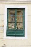 Fenêtre antique verte avec des fleurs de pot photographie stock