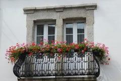 Fenêtre avec des balustrades et des fleurs image libre de droits