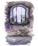 Fenêtre avec des fleurs dans le château Carte de mariage Photographie stock libre de droits
