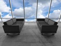 Fenêtre avec des nuages et des sofas en cuir noirs 3 d Photos stock