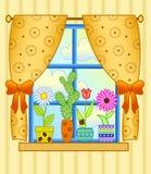 Fenêtre avec des pots de fleur illustration libre de droits