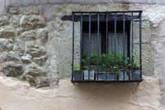 Fenêtre avec des pots en métal Image stock