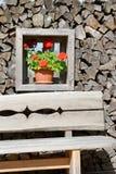 Fenêtre avec le fond et les fleurs en bois Photographie stock