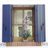Fenêtre avec les volets en bois bleus Photo libre de droits