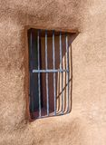 Fenêtre barrée au ranch de Ghost photographie stock