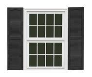 Fenêtre blanche avec les volets noirs d'isolement Images libres de droits