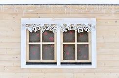 Fenêtre congelée de Noël Images stock