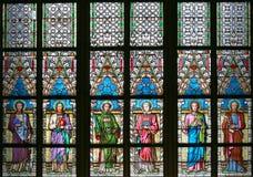 Fenêtre d'Alfons Mucha Stained Glass de peintre d'Art Nouveau dans St Vitus Cathedral, Prague images libres de droits
