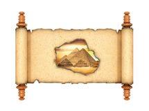 Fenêtre dans l'histoire Un rouleau ouvert avec un trou brûlé par lequel vous pouvez voir la vieille Egypte illustration 3D illustration de vecteur