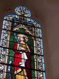 Fenêtre dans la chapelle de Loretto dans la cathédrale de Santa Fe au Nouveau Mexique Images stock