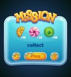 Fenêtre de jeu pour l'ordinateur APP de mission Photos stock