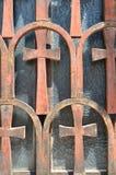 Fenêtre de l'église de Panaghia Kapnikarea Image stock