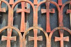 Fenêtre de l'église de Panaghia Kapnikarea Photos stock