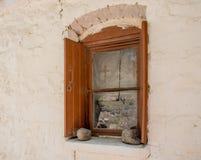 Fenêtre de l'église orthodoxe grecque photographie stock