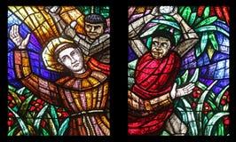 Fenêtre de l'Afrique, verre souillé dans Votiv Kirche à Vienne Image stock