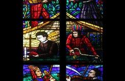 Fenêtre de l'Amérique dans Votiv Kirche à Vienne Images stock