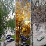 Fenêtre de l'hiver un d'automne d'été Images stock